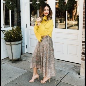 NWT Anthropologie Fall Glimmered Metallic Skirt M